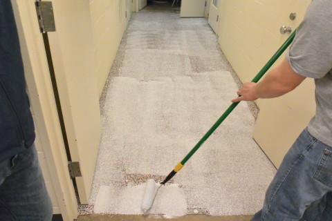 Step 6 - Second Clear Coat - Herculan IG institutional flooring installation